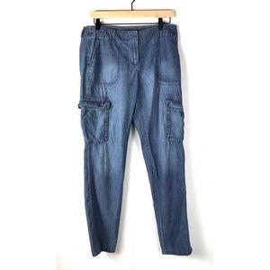 J Jill Utility Cargo Pants Blue Multi Pocket SZ 8